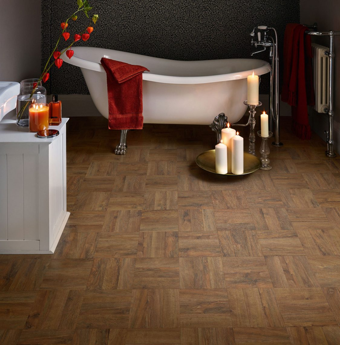 LVT Vinyl Tiles Polyflor Georgian Parquet Bathroom