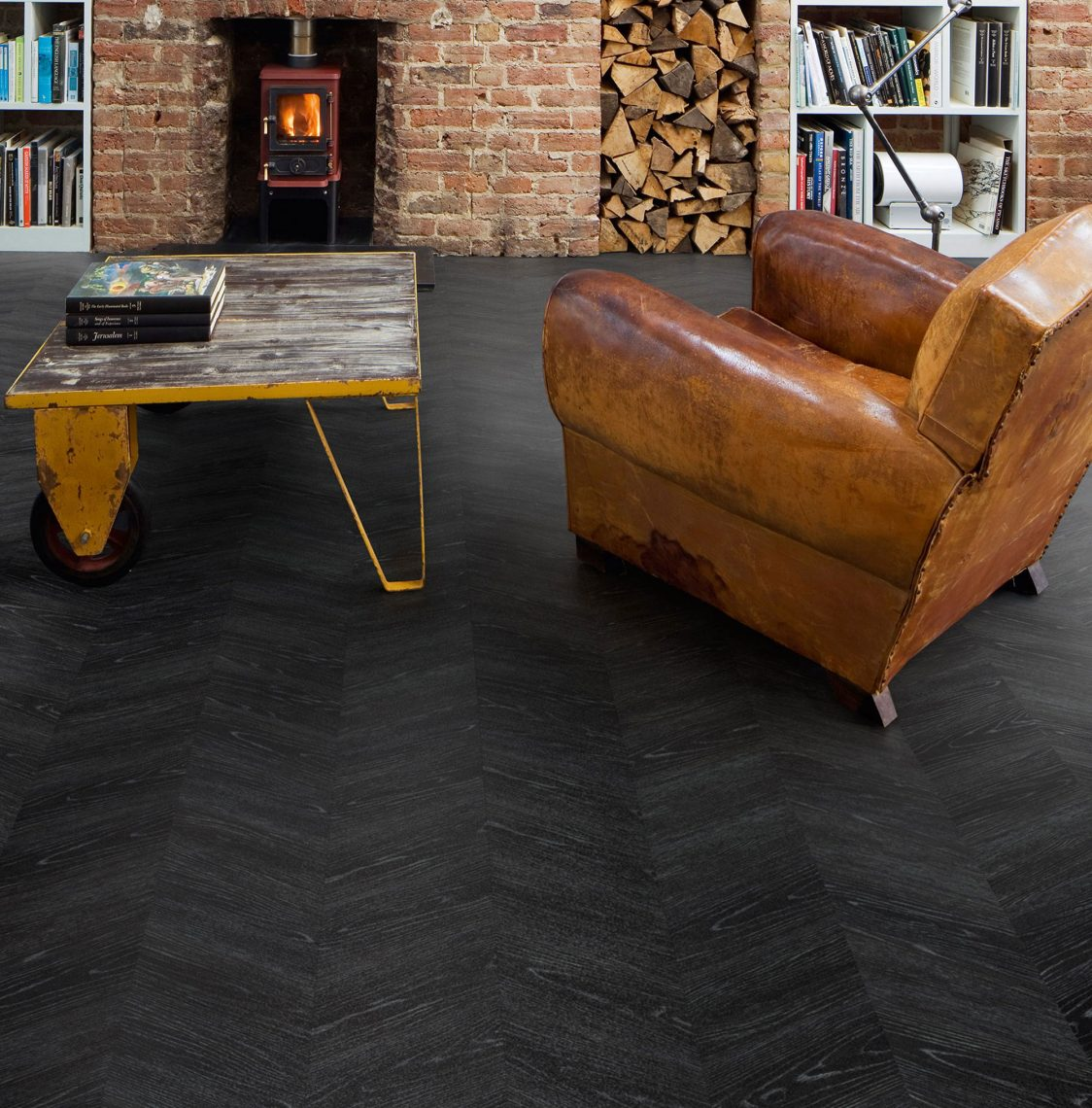 LVT vinyl tiles Polyflor Midnight Ash Living Room