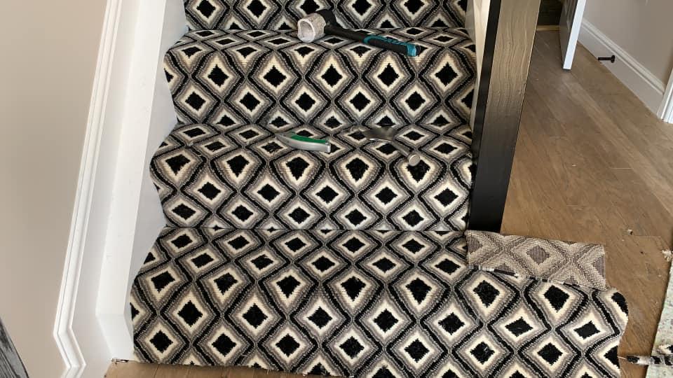 carpet diamond pattern on stairs