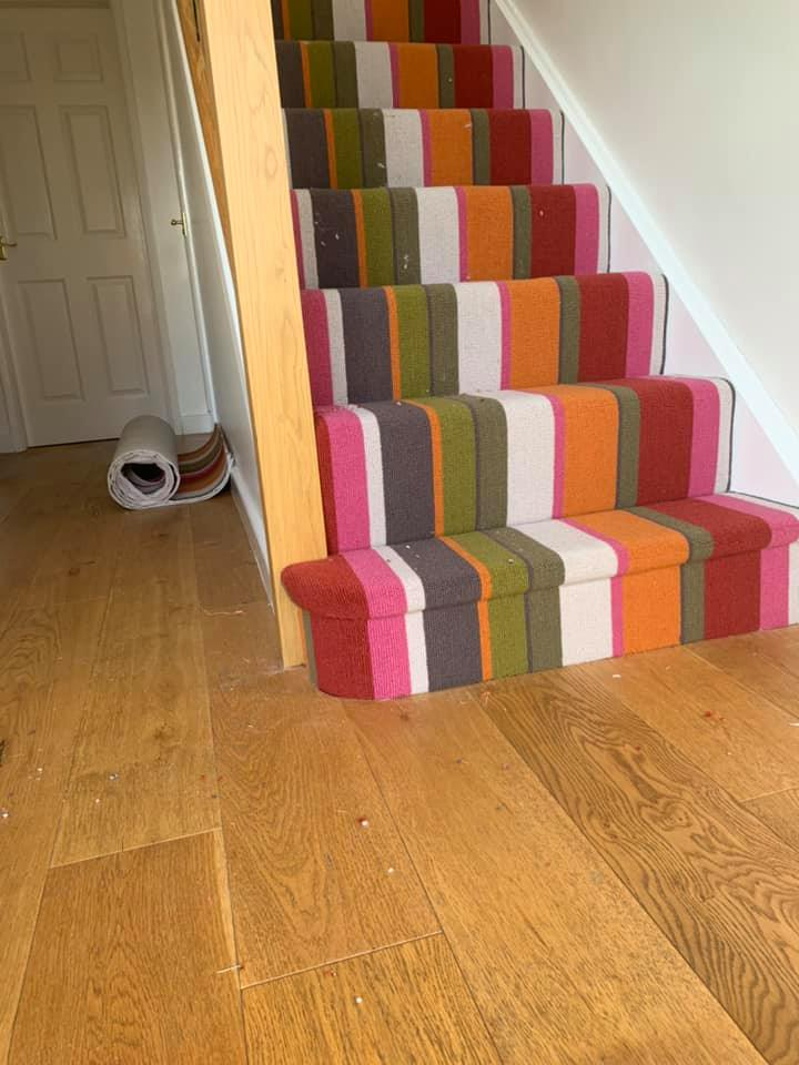 carpet stripes on stairs